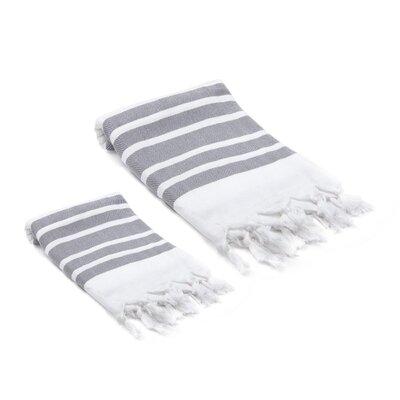 Ruthar Turkish 2 Piece Towel Set Color: Gray