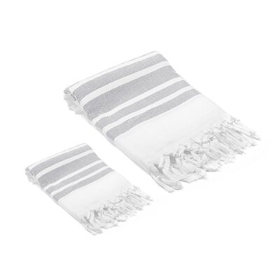 Ruthar Turkish 2 Piece Towel Set Color: Light Gray