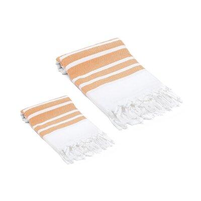 Ruthar Turkish 2 Piece Towel Set Color: Orange