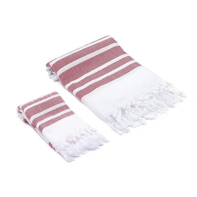 Ruthar Turkish 2 Piece Towel Set Color: Red