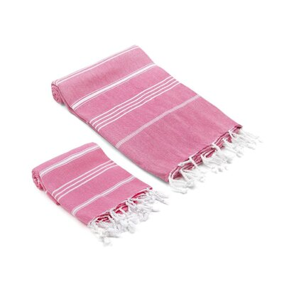 Marlow Turkish 2 Piece Towel Set Color: Fuchsia
