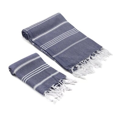 Marlow Turkish 2 Piece Towel Set Color: Navy
