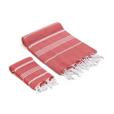 Marlow Turkish 2 Piece Towel Set Color: Red