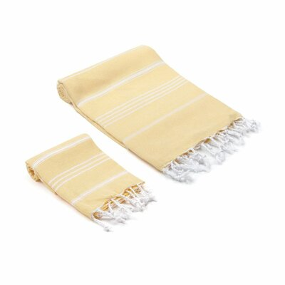 Marlow Turkish 2 Piece Towel Set Color: Yellow