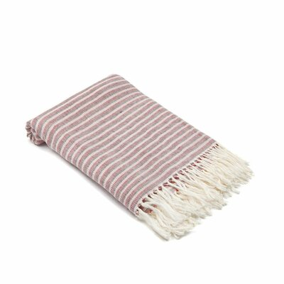 Arraignee Linen Peshtemal Beach Towel Color: Red/Espresso
