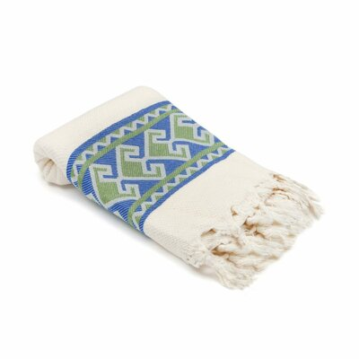 Feinstein Selamlique Turkish Beach Towel Color: Blue Olive/Ivory