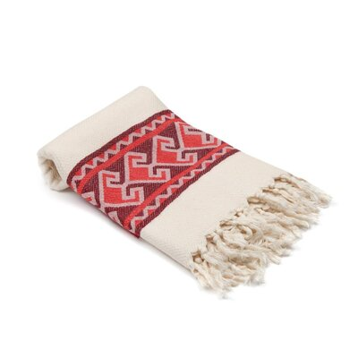 Feinstein Selamlique Turkish Beach Towel Color: Burgundy Red/Ivory