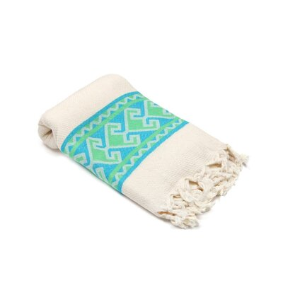 Feinstein Selamlique Turkish Beach Towel Color: Turquoise Green/Ivory