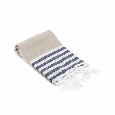 Turkish Hand Towel Color: Beige/Navy