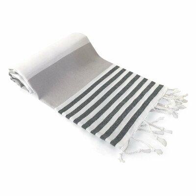 Yarger Multicolor Stripe Turkish Beach Towel Color: Gray/Black