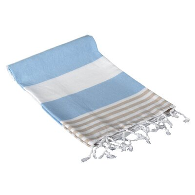Turkish Hand Towel Color: Light Blue/Beige