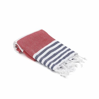 Turkish Hand Towel Color: Red/Navy