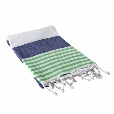 Yarger Multicolor Stripe Turkish Beach Towel Color: Navy/Green