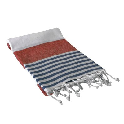Yarger Multicolor Stripe Turkish Beach Towel Color: Red/Navy
