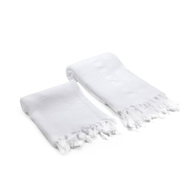Swynford Natural Turkish 2 Piece Towel Set Color: White