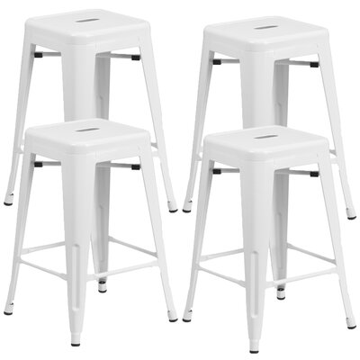 Farwell Backless 24 Bar Stool Color: White