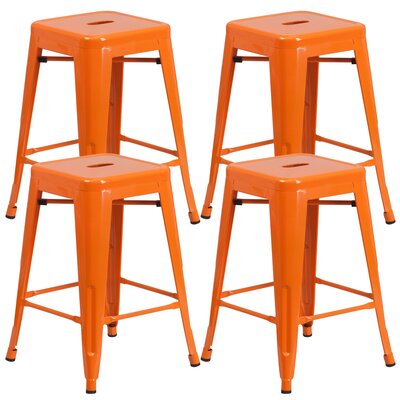 Farwell Backless 24 Bar Stool Color: Orange