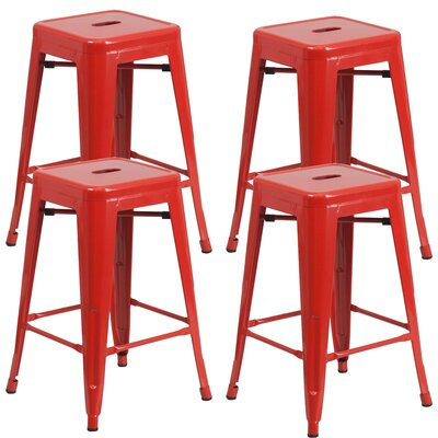 Farwell Backless 24 Bar Stool Color: Red