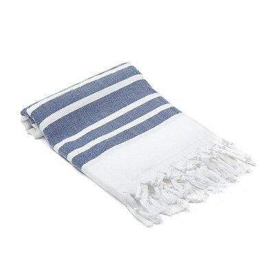Ruthar Herringbone Turkish Beach Towel Color: Dark Blue