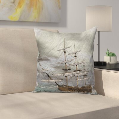 Old Ocean in Wave Rainy Storm Cushion Pillow Cover Size: 24 x 24