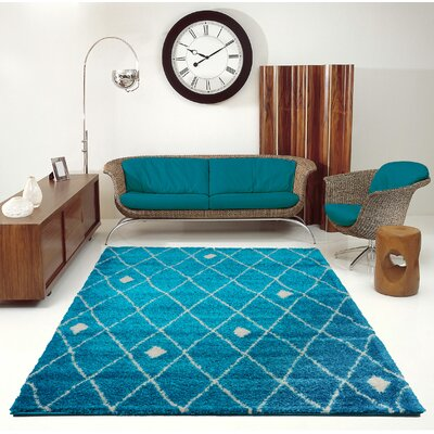 Fallsburg Shaggy Trellis Turquoise/Ivory Area Rug Rug Size: Rectangle 52 x 75