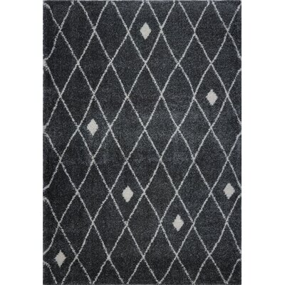 Fallsburg Shaggy Trellis Dark Gray Area Rug Rug Size: Rectangle 710 x 107