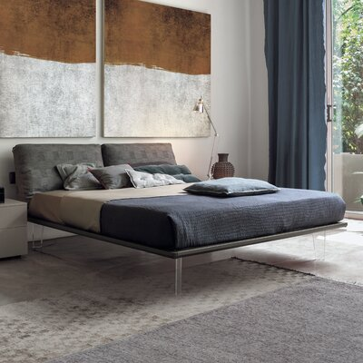 Piuma Upholstered Platform Bed Size: Queen, Color: Charcoal Gray