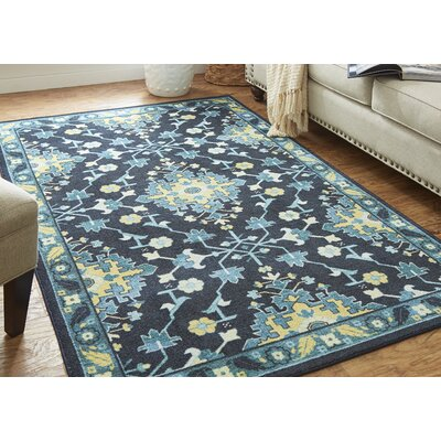 Harrill Yellow/Blue Area Rug Rug Size: Rectangle 8 x 10
