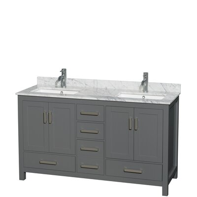 Sheffield 60 Double Bathroom Vanity Set Top Finish: White Carrara