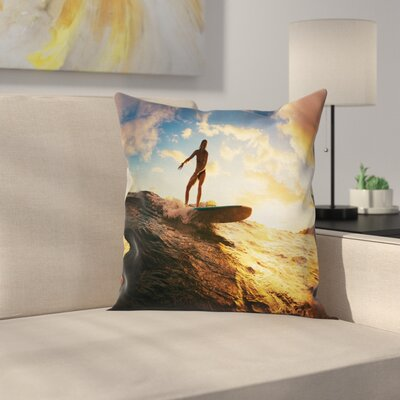 Sunset Surf Woman Square Cushion Pillow Cover Size: 16 x 16