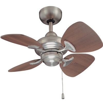 24 Van Horne 4 Blade Ceiling Fan with Remote Finish: Satin Nickel