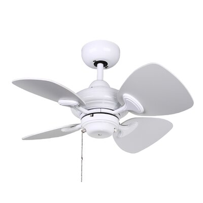 24 Van Horne 4 Blade Ceiling Fan with Remote Finish: White