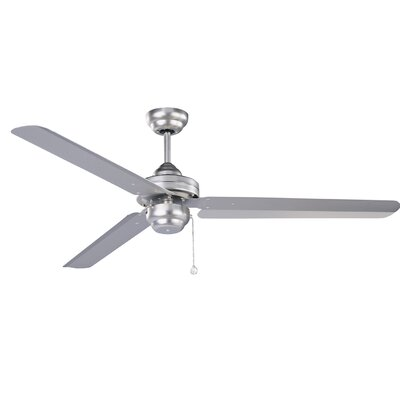 54 Hirst 3 Blade Ceiling Fan with Remote Finish: Brushed Steel