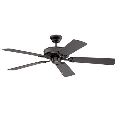 52 Petrey Ceiling Fan with Remote Finish: Black