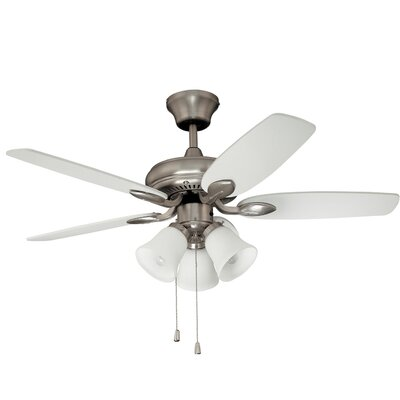 42 Paschall Ceiling Fan with Remote Finish: Satin Nickel with White Blades