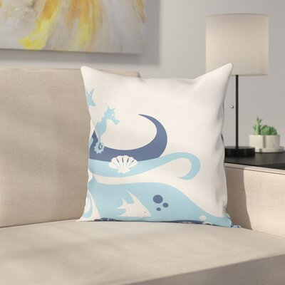Deep Sealife Creatures Cushion Pillow Cover Size: 18 x 18