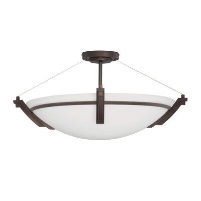 Hogle 4-Light LED Semi Flush Mount Fixture Finish: Rustic Bronze