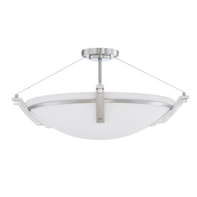 Hogle 4-Light LED Semi Flush Mount Fixture Finish: Satin Nickel