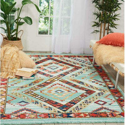 Carice Aqua/Red Area Rug Rug Size: Rectangle 93 x 13
