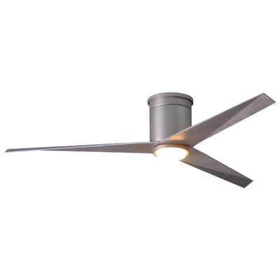 56 Hedin Flushmount Frosted Glass Light Kit 3 Blade LED Ceiling Fan with Remote Finish: Brushed Nickel with Barn Wood Blades
