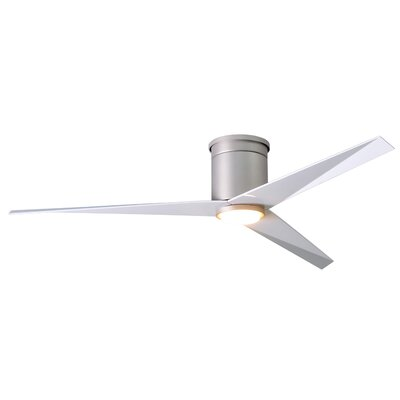 56 Hedin Flushmount Frosted Glass Light Kit 3 Blade LED Ceiling Fan with Remote Finish: Brushed Nickel with Gloss White Blades