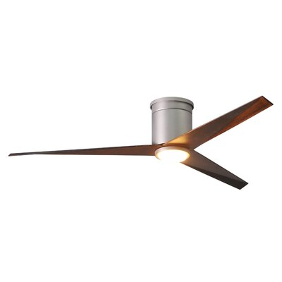 56 Hedin Flushmount Frosted Glass Light Kit 3 Blade LED Ceiling Fan with Remote Finish: Brushed Nickel with Walnut Tone Blades