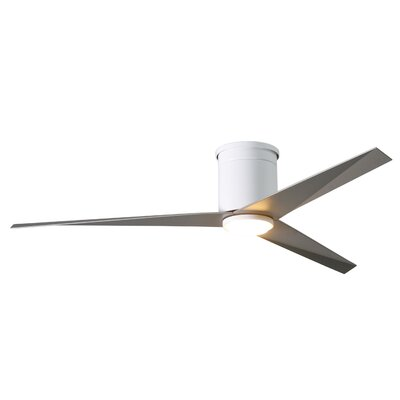 56 Hedin Flushmount Frosted Glass Light Kit 3 Blade LED Ceiling Fan with Remote Finish: Gloss White with Brushed Nickel Blades