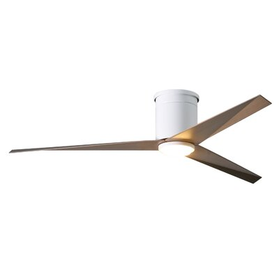 56 Hedin Flushmount Frosted Glass Light Kit 3 Blade LED Ceiling Fan with Remote Finish: Gloss White with Gray Ash Blades
