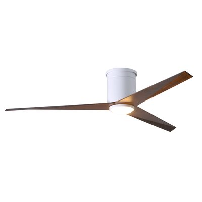 56 Hedin Flushmount Frosted Glass Light Kit 3 Blade LED Ceiling Fan with Remote Finish: Gloss White with Walnut Tone Blades