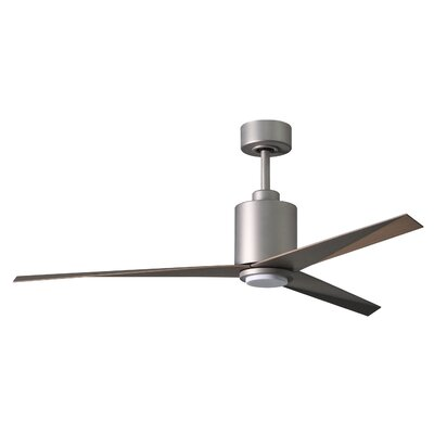 56 Hedin Frosted Glass Light Kit 3 Blade LED Ceiling Fan with Remote Finish: Brushed Nickel with Gray Ash Blades