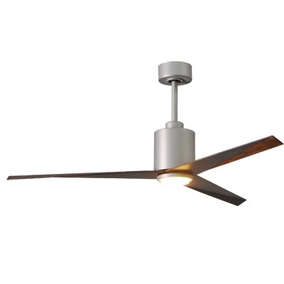 56 Hedin Frosted Glass Light Kit 3 Blade LED Ceiling Fan with Remote Finish: Brushed Nickel with Walnut Tone Blades