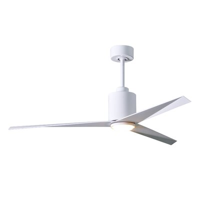 56 Hedin Frosted Glass Light Kit 3 Blade LED Ceiling Fan with Remote Finish: Gloss White Blades