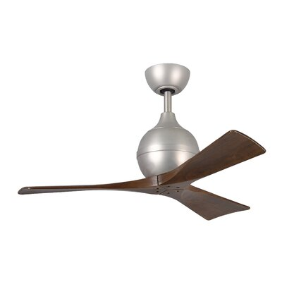 42 Bernard 3 Blade Ceiling Fan with Remote Finish: Brushed Nickel with Barn Wood Tone Blades