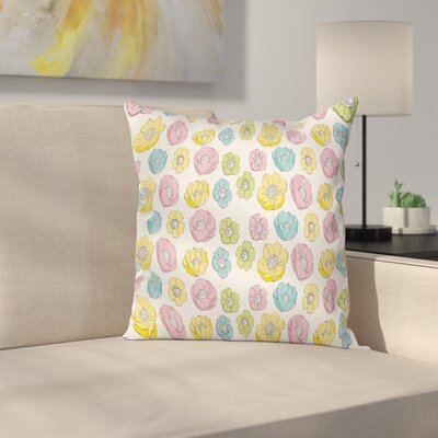 Anemone Girlish Square Cushion Pillow Cover Size: 18 x 18
